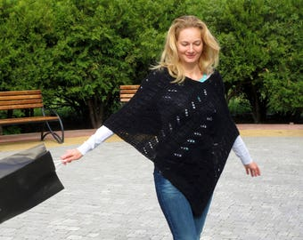 Knitted poncho black poncho crocheted poncho women ponchos womens knitwear oversize poncho spring poncho cape wool cover up wool coverups