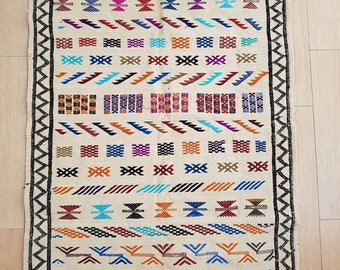Luna vintage Moroccan Berber design cream cotton rug -  handmade - kilim