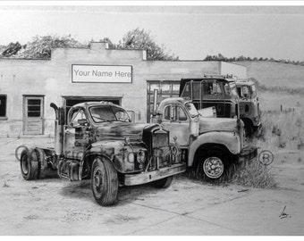 Mack B61 Semi Truck Customized Pencil Drawing Print