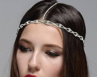 Rose Gold or Silver Bohemian Forehead Chain, Rhinestone Headpiece, Bridal Head Chain, Forehead Chain, Gypsy Hair Halo, Hair Swag Halo
