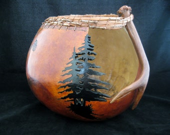 Mountain Shadows - Antler and Pine Needle Coiling Gourd Art