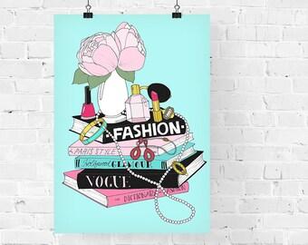 Fashion Book Stack Fashion Illustration Art Print