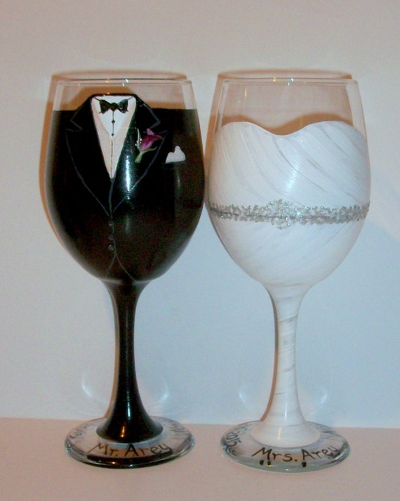 Bride and Groom Wedding Dress and Tuxedo Hand Painted Wine