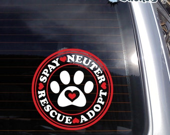 Spay Neuter Rescue Adopt Paw 2 color Vinyl Decal - fits window, laptop + more K596