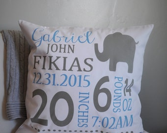 Personalized birth pillow cover, birth Announcement pillow cover, birth stats pillow, baby boy birth pillow, blue and gray
