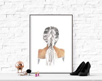 A3 Large print art hair blonde girl plait daughter home decor drawing teenage child gift