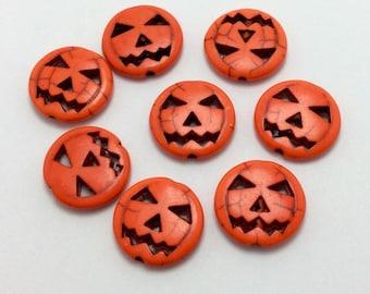 8 Pumpkin Beads, Halloween Beads, Jack-O-Lantern Beads (1-1299)