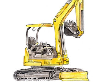 Excavator Backhoe construction watercolor print, 8x10""
