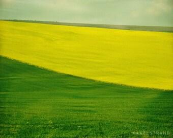 Landscape photograph, nature in spring art print, travel photography, lush green fields, Scandinavian art