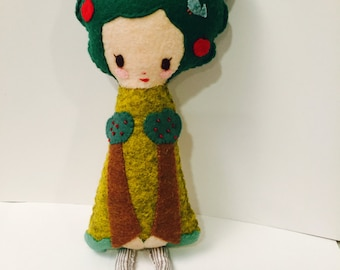 Tree Girl Plushie. Softie. Felt Doll.