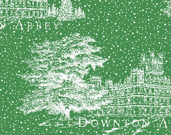 Downton Abbey Christmas Fabric by Andover - Green and White Snow Fabric by Andover Fabrics  A 7803 MG -  100% Cotton Fabric