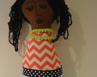 OOAK soft sculpture cloth Art Doll Black or African American Girl
