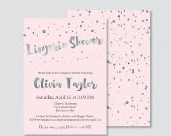 Pink and Silver Lingerie Shower Invitation Printable or Printed - Faux Silver Foil Lingerie Shower Invites - Pink Bachelorette Party 0010-K