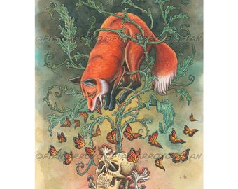 """Angels Of Our Better Nature-11""""x14"""" Fantasy, Pop Surrealism, Signed, Titled Fine Art FOX And SKULL Archival PRINT by Fian Arroyo-Unframed"""