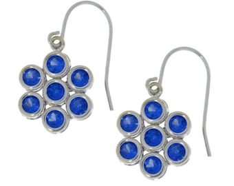 White Gold Tanzanite Bezel Round Dangle Earrings .925 Sterling Silver