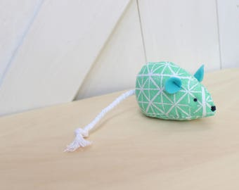 Mint Green Fabric Catnip Mouse Cat Toy