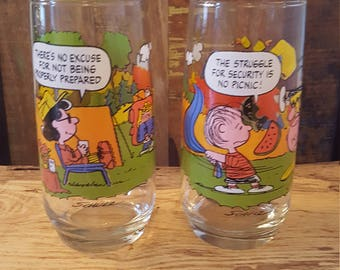 Lot of 2 Vintage Camp Snoopy Charlie Brown Collector Glasses