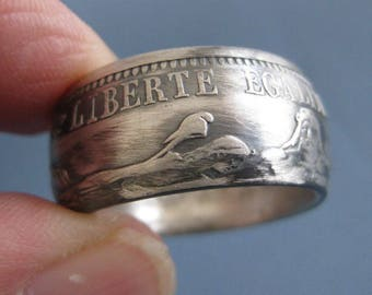 Coinring muntring made of a 10 franc 1969 France .