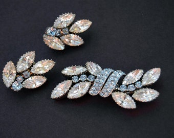 Vintage Schoffel and Co. Rhinestone Brooch and Earring set