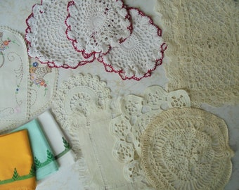 Lot of 15 VINTAGE LINENS BEAUTIFUL Doilies Various shapes and sizes  3 Tea Towels collectibles from the 1930-40s.