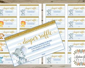 Blue Cute BABY SAFARI Animals Diaper Raffle Ticket, Safari Theme Diaper Raffle Insert, Blue Gold, Printable, Instant Download, Baby Shower