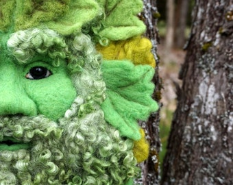 Needle Felted One of a kind Spring Gargoyle or Green Man Soft Sculpture by Bella McBride Greenman or Hunky Punk