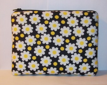"Pipe Pouch, Padded Pouch, XL Pipe Bag, Zipper Bag, Pipe Cozy, Flowers & Dots Bag, Cute Pouch, Gadget Bag, 420, Padded Bag, 7.5"" x 6"" X LARGE"