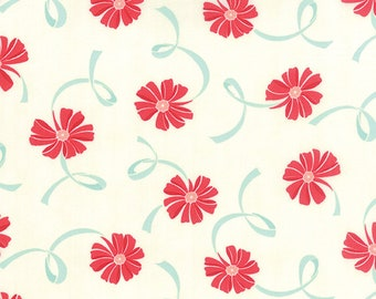 Half Yard Fabric-Hello Darling-Small Red Floral Aqua Ribbon 55116-14