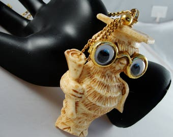 "Whimsical RAZZA ""Scholarly Owl"" Composite Necklace"