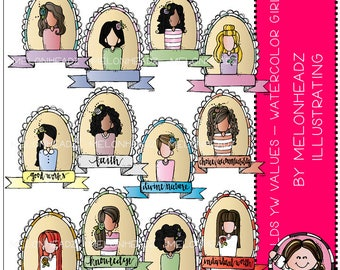 Young Women Values clip art - Watercolor Girls - COMBO PACK