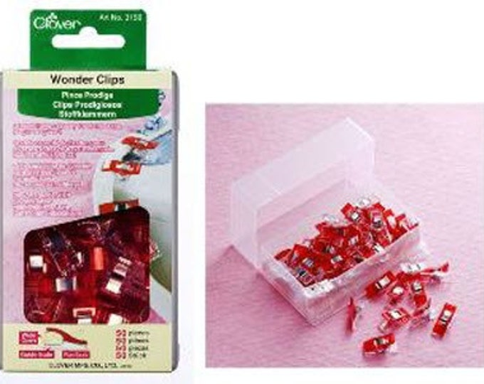 Wonder Clips - 50 Clips in a Storage Box - Great Alternative to Pins - from Clover (W1442)
