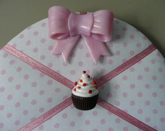 Collage with pink polka dots and cupcakes