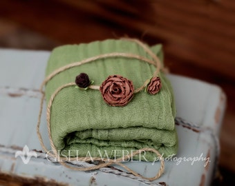 Green Cheesecloth, BABY Wrap Set, Cheesecloth Wrap, Newborn Photo Prop, Baby Wrap, Baby Halo, Newborn Wrap & Baby Tieback, Photo Prop, Layer