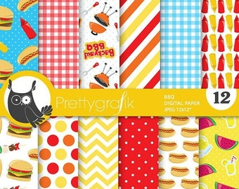 80% OFF SALE BBQ barbecue digital paper, commercial use, scrapbook papers, background, fair - Ps723