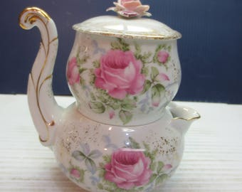 Lefton China Hand Painted Stacking Creamer And Sugar Bowl With Gold Detail