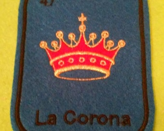 La Corona  Loteria Patch  Iron On crown