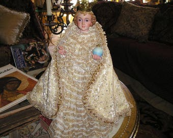 Vintage Divine Spanish Infant Jesus of Prague w/Crown,Vestments.Heavenly Glass Eyed Santos..