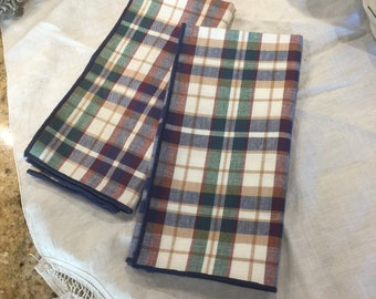 Longaberger Napkins, 2, Blue Woven Traditions Plaid, Vintage, Kitchen and Dining, Table Setting, Home Decor, Linens