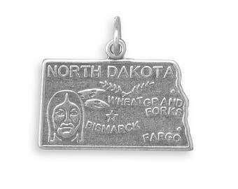Sterling Silver North Dakota State Charm America Peace Garden Wheat Fargo