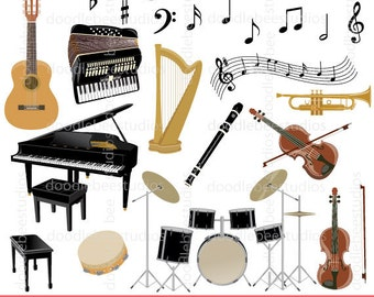 Musical Instruments Clip Art, Music Notes Clipart, Music Clipart, Grand Piano, Violin, Guitar, Accordion, Drum Set, Trumpet, Harp Clipart