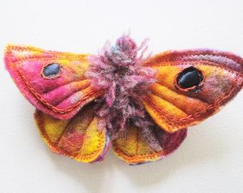 textile moth pin, soft sculptured brooch, statement brooch