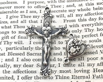 Rosary Set  - Sacred Heart - Theological Virtues - Faith, Hope, and Love - Bronze or Sterling Silver - Rosary Parts - Reproduction (316/701)