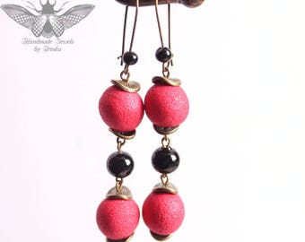 Red polymer clay earrings