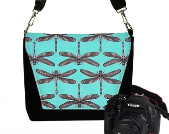 Womens Padded DSLR Camera Bag Slr Camera Bag Purse Dragonfly Deluxe Messenger Camera Bag Zipper Pocket  Turquoise Blue Black MTO
