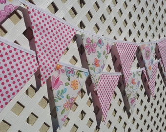 Garden Party, Birthday, Pink, Flowers, Fabric Flag Bunting Banner, Baby Shower, Nursery Garland, First Birthday, Cake Smash, Photo Prop