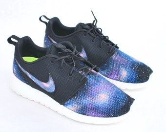 Custom Galaxy Nike Roshe Run - Hand Painted Blue Galaxy on Black Roshes - Galaxy Print on Nike Swoosh, Vamp & Heel.