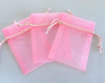 Baby pink organza gift bags - great for party/ shower favors or gifts - set of three - 10cm x 7cm