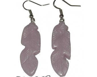 Feather earrings, polymer clay rose