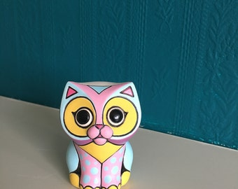 Handmade ceramic cat; Little pottery cat; Pink and blue cat