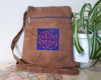 Handcrafted Kashmir Boho Chic Suede Leather Crossbody Purse in Copper